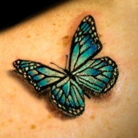 Green butterfly tattoo1