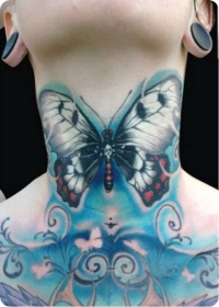 Large blue butterfly tattoo on the neck1